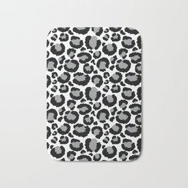 White Black & Light Gray Leopard Print Bath Mat