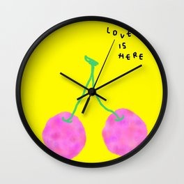 Words from Cherry - fruit love illustration wedding gift Wall Clock