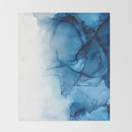 Blue Tides - Alcohol Ink Painting Throw Blanket
