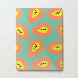 Papaya Pattern Metal Print
