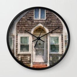 Cape Cod Cottage Watercolor Wall Clock