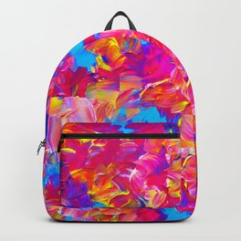 FLORAL FANTASY Bold Abstract Flowers Acrylic Textural Painting Neon Pink Turquoise Feminine Art Backpack
