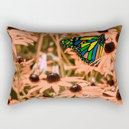 Surreal Monarch Butterfly on Coral Flowers Rectangular Pillow
