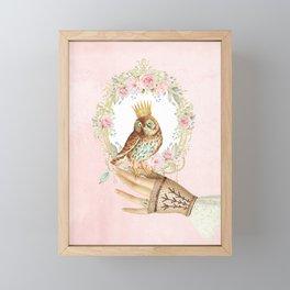 Owl on the hand Framed Mini Art Print
