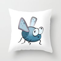 bug Throw Pillows featuring Bug by Massimo Merlini