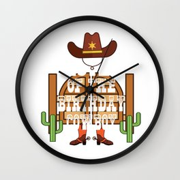 Sister Of The Birthday Cowboy Kids Rodeo Party B-day design Wall Clock