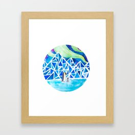 Aurora australis and icy mountains Framed Art Print