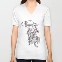 llama V-neck T-shirts featuring Llama by LouJah