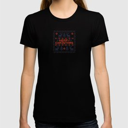 Pixel Merry Christmas - Deers and Trees - Red and Dark Blue T-shirt