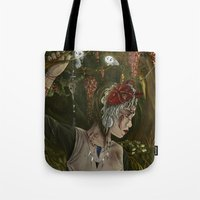 princess mononoke Tote Bags featuring mononoke by Devon Busby Busbyart