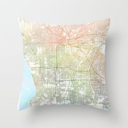 Los Angeles Watercolor Map Art by Zouzounio Art Throw Pillow