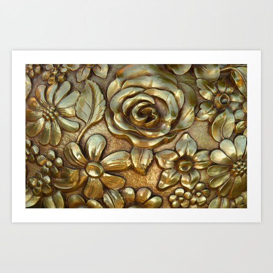 Golden Rose Pattern Art Art Print