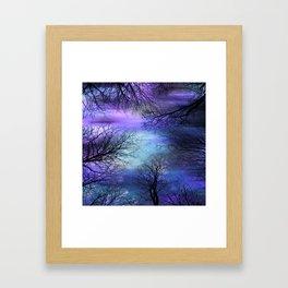 Black Trees Purple Blue Abstract Sky Framed Art Print