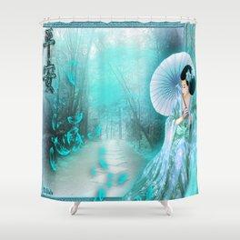 Geisha In Teal Shower Curtain