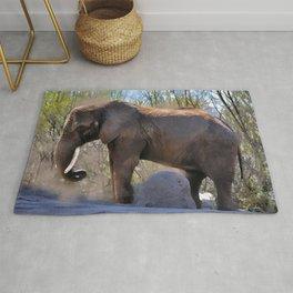 An African Elephant Dust Bath - Wildlife Art Rug