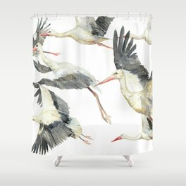 Storks Flying Away, The Last Day of Summer, Flock of Birds Shower Curtain
