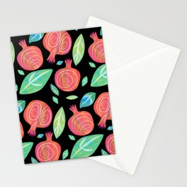Pomeranates on black field Stationery Cards
