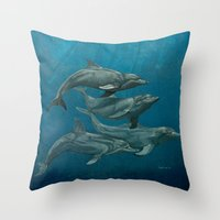 dolphins Throw Pillows featuring Dolphins by Beckyliv
