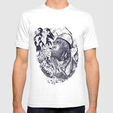 jungle kong White Mens Fitted Tee MEDIUM