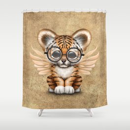 Tiger Cub with Fairy Wings Wearing Glasses Shower Curtain