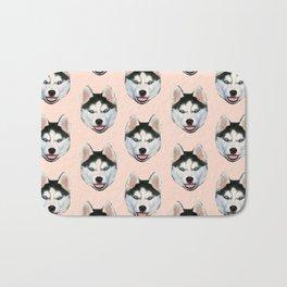 cute puppy husky dog pattern Bath Mat