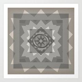 gray boho star Art Print