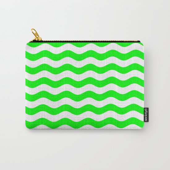 Wavy Stripes (Green/White) Carry-All Pouch