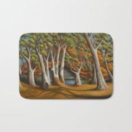 Ghost Gums of Gregory Gorge, original oil painting Bath Mat
