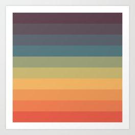 Colorful Retro Striped Rainbow Art Print