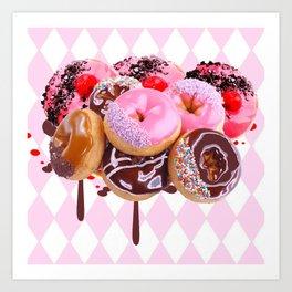 CHOCOLATE & PINK  STRAWBERRY GLAZED DONUTS ART Art Print
