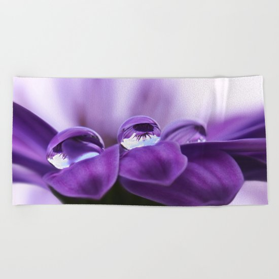 Violet flower with drops 262 Beach Towel