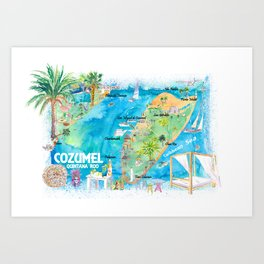 Cozumel Quintana Roo Mexico Illustrated Travel Map with Roads and Highlights Art Print
