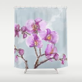 Watercolor Orchids Shower Curtain