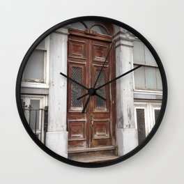 Architectural Weathered Door Old Montreal Wall Clock