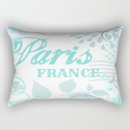Paris France Blue French Vintage Style Print Rectangular Pillow