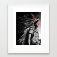 princess Framed Art Prints featuring Miyazaki's Mononoke Hime Digital Painting the Wolf Princess Warrior Color Variation by Barrett Biggers