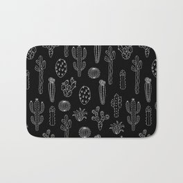 Cactus Silhouette White And Black Bath Mat