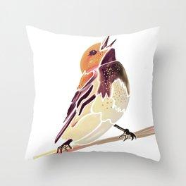 Watercolor Song bird // Wildlife Yellow Meadow Lark // White Background Throw Pillow