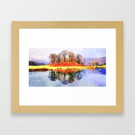 Winter trees Reflected in Lake Windermere, Lake District, UK. Watercolour Painting. Framed Art Print