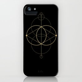 Gold Geometry machines black iPhone Case