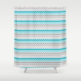 Teal Turquoise Blue Grey Gray Chevron Ombre Fade Shower Curtain