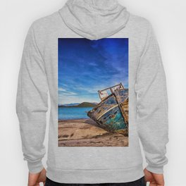 Abandoned Blue Ship at the Edge of the World Hoody