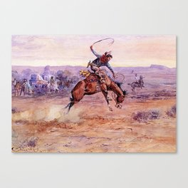 """""""Bucking Bronco"""" by Charles M Russell Canvas Print"""