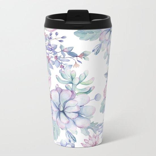 Pretty Blue Pink Succulents Garden Metal Travel Mug