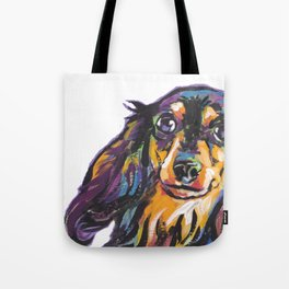 Longhaired Dachshund Fun Dog Portrait bright colorful Pop Art Painting by LEA Tote Bag