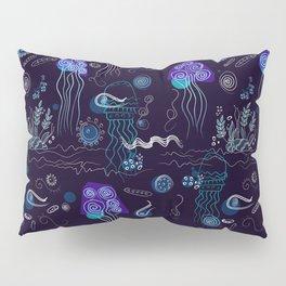 Jellyfish in the dark sea Pillow Sham