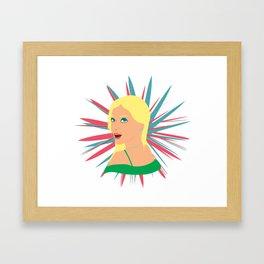 Portrait of a Surprised Blonde Framed Art Print