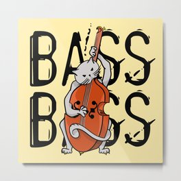 Cat Playing A Double Bass Metal Print