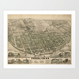 Vintage Pictorial Map of Fredericton New Brunswick (1882) Art Print