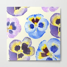 pansies pattern watercolor painting Metal Print